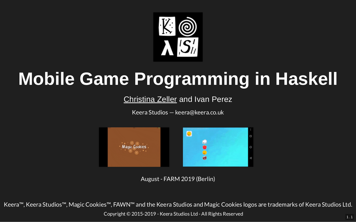 Mobile Game Programming in Haskell – FARM 2019 [Talk]