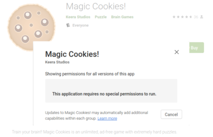 Magic Cookies is a requires no permissions to run that rq