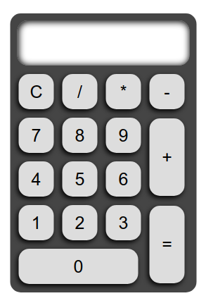 Screenshot of our calculator application, with additional CSS rules to make the table stand out and look like an object.